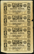 Obsoletes By State:Louisiana, New Orleans, LA- Canal Bank $20-$20-$20-$20 18__ Uncut Sheet Very Fine-Extremely Fine.. ...