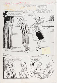 """Dan DeCarlo and Rudy Lapick Archie's Girls Betty and Veronica #80 """"It's All Relative"""" Two-Thirds Splash Page O..."""