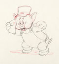 Animation Art:Production Drawing, The Three Little Pigs - Practical Pig Animation Drawing (Walt Disney, c. 1930s)....