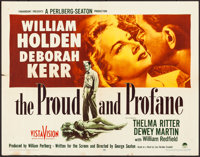 """The Proud and Profane & Other Lot (Paramount, 1956). Folded, Overall: Very Fine-. Half Sheets (2) (22"""" X 28..."""