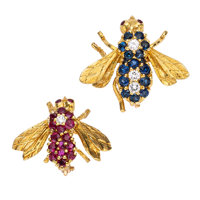 Ruby, Sapphire, Diamond, Gold Brooches, Rosenthal ... (Total: 2 Items)
