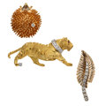 Estate Jewelry:Brooches - Pins, Diamond, Ruby, Platinum, Gold Brooches. ... (Total: 3 Items)
