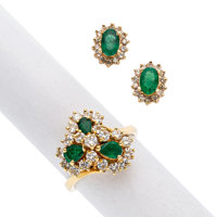 Emerald, Diamond, Gold Jewelry Suite ... (Total: 2 Items)