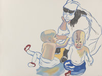 Alice Neel (1900-1984) Evans Twins, 1982 Lithograph in colors on Arches paper 31-1/2 x 42 inches