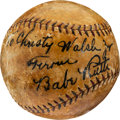 Baseball Collectibles:Balls, 1930 Babe Ruth Signed Baseball to Son of His Agent Christy Walsh....