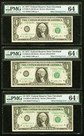 Offset Errors Fr. 1909-D $1 1977 Federal Reserve Notes. Three Consecutive Examples. ... (Total: 3 notes)