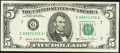 Error Notes:Offsets, Partial Face to Back Offset Error Fr. 1977-G $5 1981A Federal Reserve Note. About Uncirculated.. ...