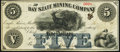Obsoletes By State:Michigan, Eagle River, MI- Bay State Mining Company $5 Jan. 26,1867 Very Fine-Extremely Fine.. ...