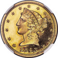 Proof Liberty Half Eagles, 1843 $5 PR66 Ultra Cameo NGC. JD-1....