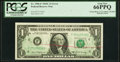 Partial Back to Face Offset Error Fr. 1906-F $1 1969C Federal Reserve Note. PCGS Gem New 66PPQ
