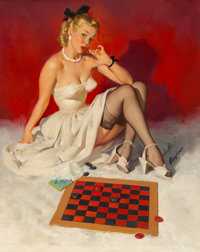Gil Elvgren (American, 1914-1980) Check and Double Check (Now Don't Get Me in a Corner) Oil on canva