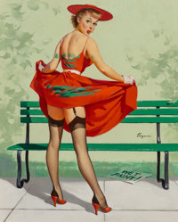 Gil Elvgren (American, 1914-1980) I've Been Spotted (Lasting Impression), 1956 Oil on canvas 30 x