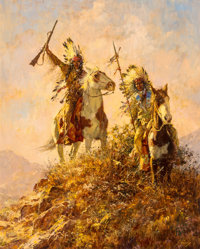 Howard A. Terpning (American, b. 1927) Jicarilla Apache Raiders, 1975 Oil on canvas 30 x 24 inche