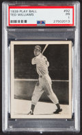 Baseball Cards:Singles (1930-1939), 1939 Play Ball Ted Williams #92 PSA Poor 1....