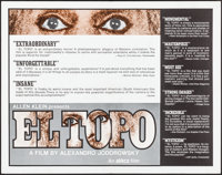 """El Topo & Other Lot (Abkco, R-1975). Rolled, Very Fine-. Half Sheet (22"""" X 28"""") Review Style &..."""