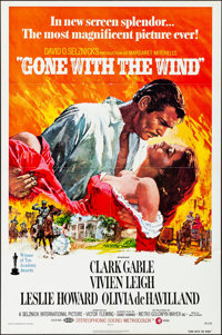 "Gone with the Wind (MGM, R-1974). Folded, Very Fine+. One Sheet (27"" X 41"") Howard Terpning Artwork. Academy A..."