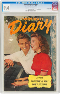Sweetheart Diary #5 Crowley Copy Pedigree (Fawcett Publications, 1950) CGC NM 9.4 Cream to off-white pages