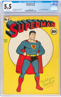 Superman #6 (DC, 1940) CGC FN- 5.5 Off-white pages