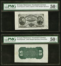 Fr. 1274SP/1272SP 15¢ Third Issue Wide Margin Pair PMG About Uncirculated 50 EPQ. ... (Total: 2)