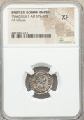 Ancients:Roman Imperial, Ancients: Theodosius I, Eastern Roman Empire (AD 379-395). AR siliqua (18mm, 1h). NGC XF. ...