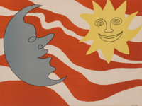 Alexander Calder (1898-1976) Sun Face Moon Face, c. 1965 Lithograph in colors on wove paper 19-1/
