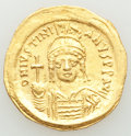 Ancients:Byzantine, Ancients: Justinian I the Great (AD 527-565). AV solidus (21mm, 4.49 gm, 6h). AU, graffito. ...