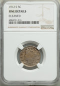 1912-S 5C -- Cleaned -- NGC Details. Fine. NGC Census: (250/631). PCGS Population: (489/1381). CDN: $130 Whsle. Bid for...