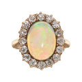 Estate Jewelry:Rings, Antique Opal, Diamond, Gold Ring  The ring fea...