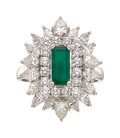 Estate Jewelry:Rings, Emerald, Diamond, Platinum Ring-Dant. ...