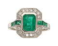 Estate Jewelry:Rings, Emerald, Diamond, Platinum Ring The ring featu...