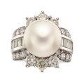 Estate Jewelry:Rings, South Sea Cultured Pearl, Diamond, White Gold Ring