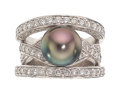 Estate Jewelry:Rings, South Sea Cultured Pearl, Diamond, Platinum Ring, Robert W...