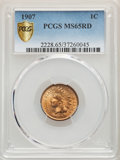 Indian Cents: , 1907 1C MS65 Red PCGS. PCGS Population: (219/47). NGC Census: (100/15). CDN: $410 Whsle. Bid for problem-free NGC/PCGS MS65...