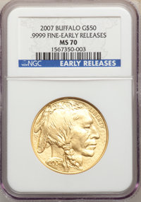 2007 G$50 One-Ounce Gold Buffalo, Early Releases MS70 NGC. .9999 Fine Gold. NGC Census: (12954). PCGS Population: (844)...