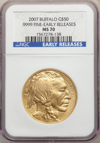 2007 G$50 One-Ounce Gold Buffalo, Early Releases, MS70 NGC. .9999 Fine Gold. NGC Census: (12952). PCGS Population: (844)...