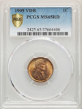 Lincoln Cents, 1909 1C VDB MS65 Red PCGS. PCGS Population: (6574/2944). NGC Census: (2967/1429). CDN: $100 Whsle. Bid for problem-free NGC...