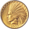 Indian Eagles, 1907 $10 Rolled Rim MS64+ PCGS. CAC....