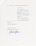 Autographs:Letters, Baseball Hall of Fame Signed Contract Lot of 5. Of...
