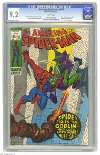 The Amazing Spider-Man #97 (Marvel, 1971) CGC NM- 9.2 White pages. Green Goblin cover appearance. Drug book not approved...