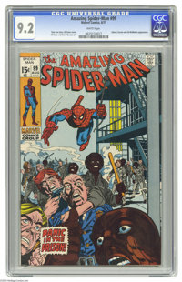 The Amazing Spider-Man #99 (Marvel, 1971) CGC NM- 9.2 White pages. Spidey swings into the middle of a prison riot. Johnn...