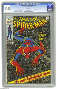 The Amazing Spider-Man #100 (Marvel, 1971) CGC VF/NM 9.0 White pages. Anniversary issue, with a Green Goblin cameo. John...