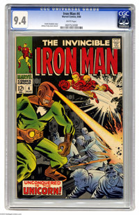 Iron Man #4 (Marvel, 1968) CGC NM 9.4 White pages. Johnny Craig cover and art. Overstreet 2004 NM- 9.2 value = $90. CGC...