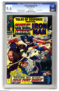 Tales of Suspense #92 (Marvel, 1967) CGC NM 9.4 White page. Nick Fury appearance. Jack Kirby cover. Kirby, Gene Colan, F...