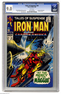 Tales of Suspense #99 (Marvel, 1968) CGC VF/NM 9.0 White pages. Last issue. Title changes to Captain America. Gene Colan...