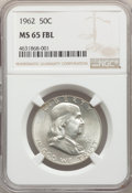Franklin Half Dollars: , 1962 50C MS65 Full Bell Lines NGC. NGC Census: (27/3). PCGS Population: (272/19). CDN: $800 Whsle. Bid for problem-free NGC...