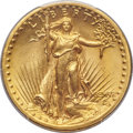 High Relief Double Eagles, 1907 $20 High Relief, Flat Rim, MS66 PCGS. CAC....