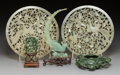 Carvings, Five Chinese Hardstone Carvings . 8 inches (20.3 cm) (largest, circular plaques, each). ... (Total: 5 Items)