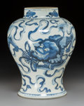 Asian, A Chinese Blue and White Porcelain Baluster Vase, Qing Dynasty, Kangxi Period. 13 x 10 inches (33.0 x 25.4 cm). ...