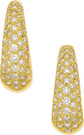 Estate Jewelry:Earrings, Diamond, Gold Earrings  The earrings feature f...