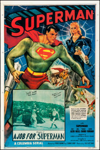 """Superman (1980s). Rolled, Fine+. Autographed Commercial Poster (27.25"""" X 41"""") Chapter 5 -- """"A Job for Sup..."""